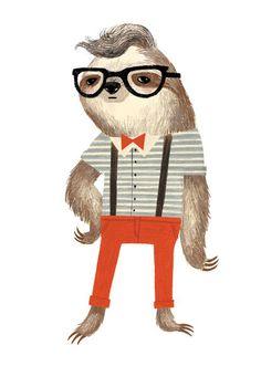Hipster Sloth - Emily Dove Illustration