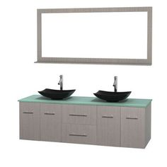 Wyndham Collection Centra 72 inch Double Bathroom Vanity in Gray Oak, Green Glass Countertop, Arista Black Granite Sinks, and 70 inch Mirror, Multicolor