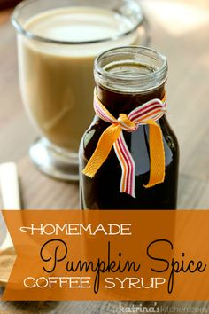 Homemade Pumpkin Spice Coffee Syrup recipe! It only takes pennies to make and you will have delicious coffee all season long. www.inkatrinaskitchen.com