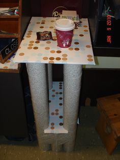 Table made from recycled cardboard.