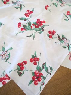 Vintage 1950's Red Cherries Cotton Tablecloth 50 x by AStringorTwo, $28.00
