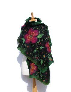 #Nuno Felted scarf Felt shawl merino wool chiffon silk
