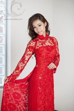 Vietnamese traditional red lace wedding dress by ceci bich huyen Www.ceciaodai.com  Model: katie van le.      ///////.     Vietnamese/English wedding invitation @ www.ThiepCuoiCali.com.        ///////////.