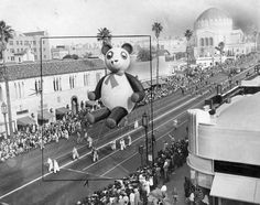 January 18, 1948 - This huge story book balloon figure (Panda) was one of the features of the March of Dimes inaugural parade on Wilshire boulevard. For nearly four miles, the boulevard was lined by approximately one million spectators. The March of Dimes campaign seeks to bring renewed hope for children crippled by polio. (Herald Examiner Collection Message Bible, March Of Dimes, One In A Million, Back In The Day, Vintage Photographs, Cali, Balloon, Panda, January