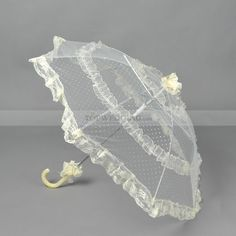 Light Yellow Dotted Lace Wedding Umbrella