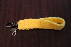 Crocheted Yellow Keychain Wristlet with Charms on Etsy, $8.00