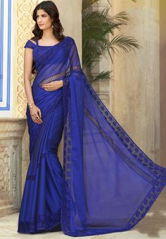 Royal Blue Party Wear Saree