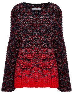 Red Handknitted Moss Stitch Jumper Yakshi Malhotra