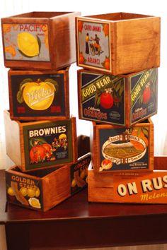 Vintage Fruit Crates Boxes.