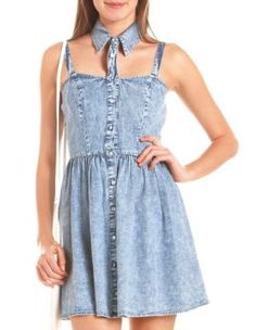 cutout collar acid wash denim dress