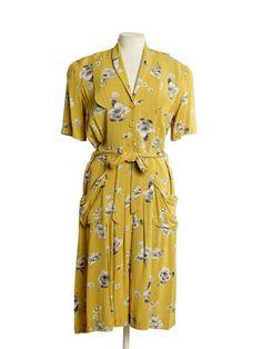 Utility dress, 1941-52, Museum of London yellow novelty print rayon dress 40s war era WWII fashion women ladies color photo print ad ~