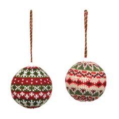 Knit Ball Christmas Ornaments, 3.25 in. | Kirklands