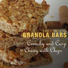 Clean Eating Diet Do you know what is in the packaged granola bars you are eating? Try these 6 DIY Clean Eating Granola Bars and know exactly what you're eating! Healthy Recipes, Healthy Sweets, Clean Eating Recipes, Clean Eating Snacks, Healthy Cooking, Healthy Snacks, Snack Recipes, Cooking Recipes, Bar Recipes