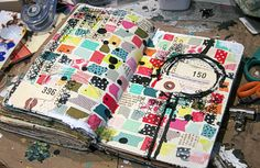 lots and lots of washi tapes torn and collage together.i guess i am still loving my inner dark side because i added more bits of scraps from my table and lots of black! supplies used: moleskine journal. Art Journal Pages, Art Journaling, Sketch Journal, Moleskine, Glue Book, Masking Tape, Washi Tapes, Creative Journal, Art Graphique
