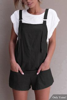 Casual Sleeveless Overalls Romper // Kaylee's wardrobe - comfy, playful, doesn't matter if engine grease gets on it Casual Summer Dresses, Summer Outfits, Dress Summer, Cool Outfits, Casual Outfits, Fashion Outfits, Latest Fashion Trends, Overalls, Rompers