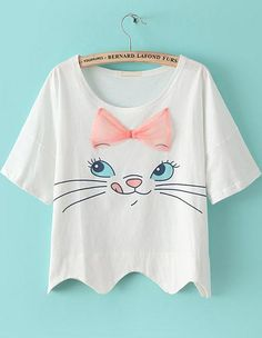 Shop White Short Sleeve Bow Cat Print Crop T-shirt online. SheIn offers White Short Sleeve Bow Cat Print Crop T-shirt & more to fit your fashionable needs. Top Fashion, Kids Fashion, Disney Outfits, Cute Outfits, T Shirt Painting, Diy Vetement, Cat Shirts, Mode Style, Kind Mode