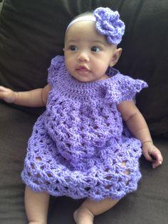 Baby Eden modeling The Peyton Dress #hookedbyima #dress #girly #crochet