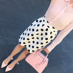 pink scalloped blouse, polka dot skirt, blush lace up flats, kate spade pink purse, spring outfit, petite fashion blog - click the photo for outfit details!