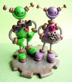 Green & Purple Robots...I love these they are so cute!