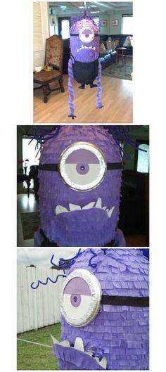 Purple minion pinata. Piñata.