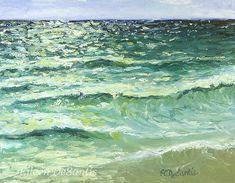 "Small original plein air oil painting on 8"" x 10"" canvas board of California beach, white, blue, green, ocean, impressionism, minimalism SFA #handmade"