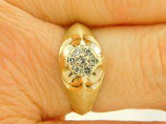 0.15 CARAT T.W. MAN'S ROUND CUT DIAMOND CLUSTER RING 10K YELLOW GOLD #38972 #Cluster