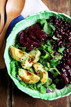 Beet Salad Recipe with Arugula, Avocado, Black Beans + Miso Balsamic Dressing