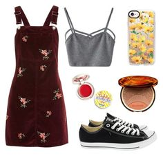 """""""Untitled #315"""" by bellamccairns on Polyvore featuring Topshop, WithChic, Converse, Supergoop!, Casetify and Clarins"""