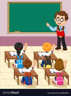 Cartoon little kid a study in the classroom vector image on VectorStock in 2020 Teacher cartoon Student cartoon Teacher picture