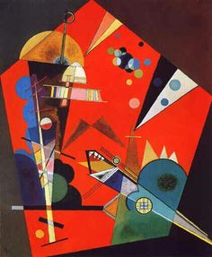 Tension in Red 1926 By Wassily Kandinsky. Replica Paintings on Canvas - Reproduction Gallery Kandinsky Art, Wassily Kandinsky Paintings, Klimt, Abstract Painters, Abstract Art, Oil Painting Reproductions, Russian Art, Art For Art Sake, Bauhaus