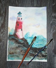 Купить Акварель. Маяк, море, скалы, небо, чайки - акварель, рисунок, картина в подарок