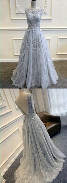 Gray V-Back Scoop Tulle Lace Appliques Party Evening Prom Dresses Online, 6665749 #promdresses