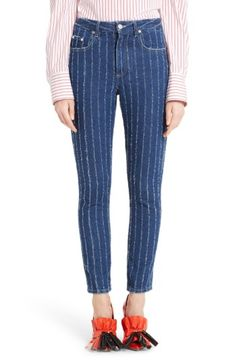 Distressed Pinstriped High-Rise Skinny Jeans, Navy
