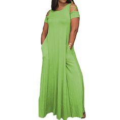 Summer Womens Round Neck Off Shoulder Short Sleeve Loose Beach Sundress Vestido Casual Party Kaftan Maxi Long Dress 2017 #Affiliate