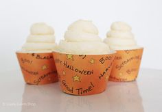 NEW! Halloween Cupcake Wrappers, Halloween Party Supplies, Halloween Supplies, Halloween Ideas, Orange Cupcake Wrappers-Set Of 6,12,16,24+