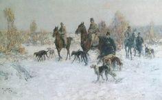 Vesin, Jaroslav Friedrich Julius - Horseback Hunting w Borzoi Russian Wolfhound, Moose Art, Hunting, Czech Republic, Animals, Animales, Animaux, Animal, Animais
