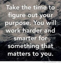 Take time to figure out your purpose you will work harder and smarter for something that matters to you Amazing Quotes, Great Quotes, Me Quotes, Motivational Quotes, Inspirational Quotes, Work Life Quotes, Keep It Real Quotes, Emotional Rollercoaster, Leader Quotes