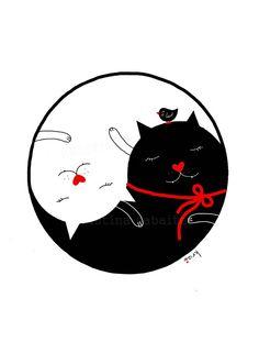 Yin Yang Art, Wall Art, Yin Yang Cat Illustration, Black and White door krize op Etsy https://www.etsy.com/nl/listing/156471323/yin-yang-art-wall-art-yin-yang-cat