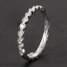 $289 Diamond Wedding Band Half Eternity Anniversary Ring 14K White Gold Bezel Art Deco Hand Crafted Twig