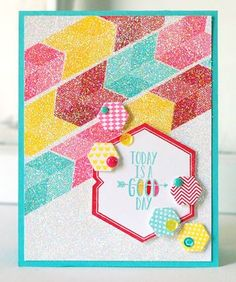 Sweet Sugar Coated Embellishments Challenge - Good Day Card (Glittered Backgrounds) by Betsy Veldman for Papertrey Ink (August 2013)