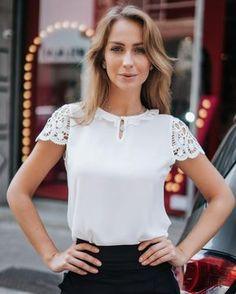 Vegan Fashion, Ethical Fashion, White Fashion, I Love Fashion, Blouse Styles, Blouse Designs, Sewing Blouses, Moda Chic, Blouse Vintage