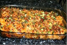 Loaded potato and buffalo chicken casserole....  2 lb boneless chicken breast cut into cubes, 8-10 med potatoes cut into cubes, 1/3 c olive oil, 1 1/2 tsp salt, 1 Tbs freshly ground pepper, 1 T paprika, 2 T garlic powder, 6 T hot sauce... Topping: 2c Fielsa Blend Cheese, 1 c crumbled bacon, 1 c diced green onion .  Allow for over an hour for cooking time...