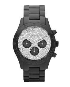 Michael Kors Mid-Size Black Stainless Steel Layton Chronograph Glitz Watch.