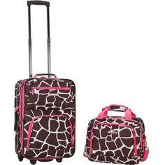 Rockland Rio 2 Piece Luggage Set Pink Giraffe Carry On Soft Tolietries Bag Pink Giraffe, Giraffe Print, Giraffe Pattern, Luggage Sets, Travel Luggage, Kids Luggage, Travel Bags, Travel Uk, Lightweight Carry On Luggage