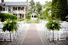 The courtyard at Thomas Birkby House set for a wedding ceremony.