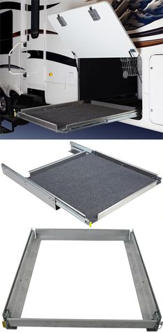This sliding tray for RV cargo compartments is an AWESOME storage idea! Put away tools and gadgets that are not needed 24/7, and access them easily from this sliding platform in and out of the RV. Various measurements available.