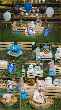 First Birthday, vintage milk and cookie themed with cookie monster.  Love the set up, and love the baby sitting in cookie crisp cereal milk bath after cake smash.