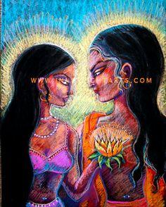 RADHA KRISHNA göttlichen Liebhaber hinduistische Weisheit Figurative feine Kunstdruck Volkskunst 8 x 10 dekorative Malerei