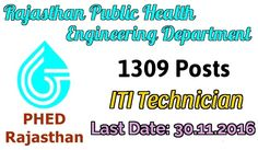 Rajasthan Public Health Engineering Department-Recruitment-1309 vacancies-Helper,fitter posts-Last date 30 November 2016-Apply online  Job Details :  Post Name : Helper No of Vacancy : 958 Posts Pay Scale : Rs. 4750-7440/- Grade Pay : Rs.1750/- Post Name : Fitter No of Vacancy : 49 Posts Pay Scale : Rs.5200-20200/- Grade Pay : Rs.2400/- Eligibility Criteria For Rajasthan PHED Recruitment :  Educational Qualification :