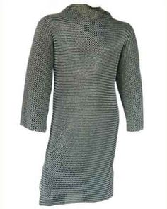 The hauberk is typically a type of mail armour constructed of loops of metal woven into a tunic or shirt. The sleeves sometimes only went to the elbow, but often were full arm length, with some covering the hands with a supple glove leather face on the palm of the hand, or even full mail gloves. It was usually thigh or knee length, with a split in the front and back to the crotch so the wearer could ride a horse. It sometimes incorporated a hood, or coif.